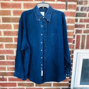 Brooks Brothers Navy Linen Button Down Shirt
